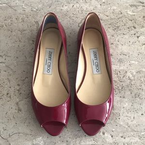 Jimmy chop peep toe flats